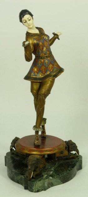 HANS KECK COLD PAINTED BRONZE & IVORY FIGURE
