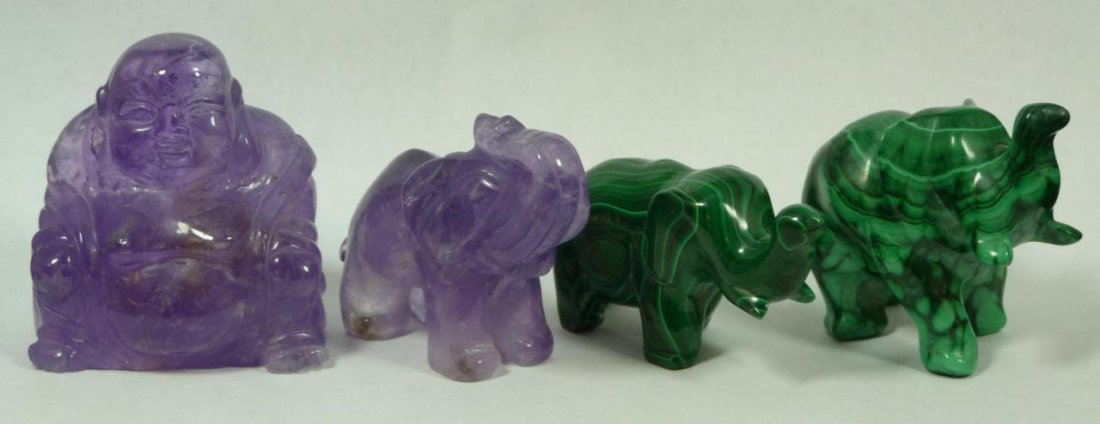 4 CHINESE CARVED MALACHITE & AMETHYST ITEMS