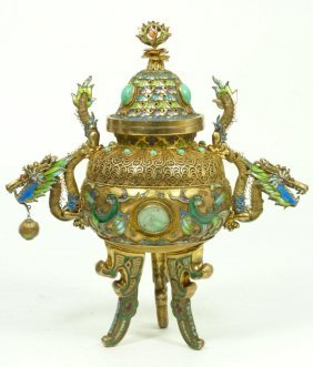 CHINESE ENAMELED SILVER VERMEIL URN