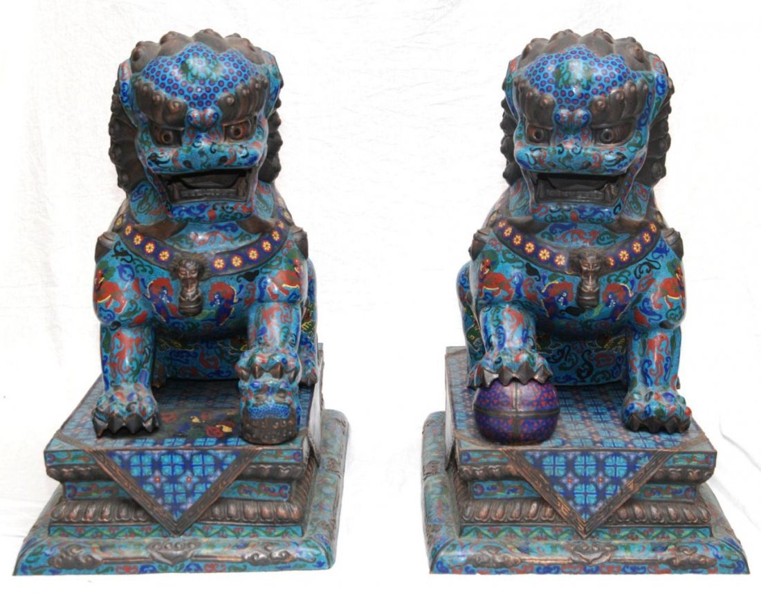 PAIR OF PALATIAL CHINESE CLOISONNE FOO DOGS