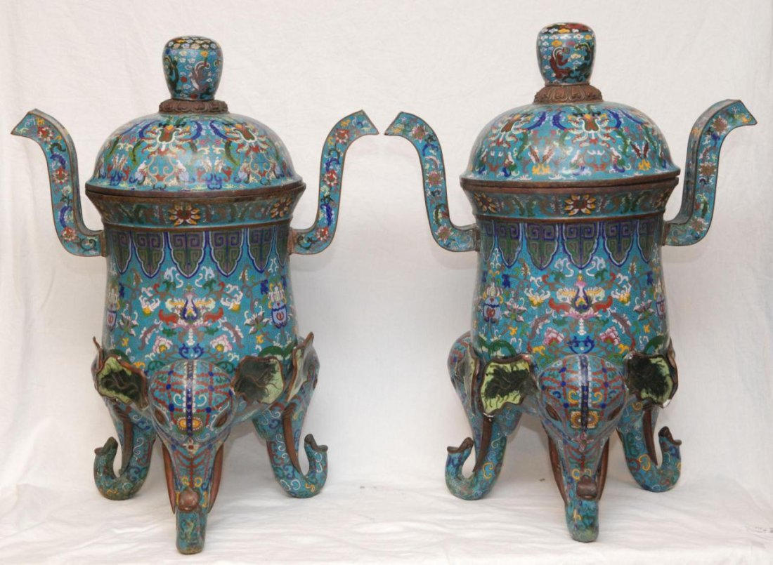 Pr OF PALATIAL CHINESE CLOISONNE ELEPHANT CENSERS