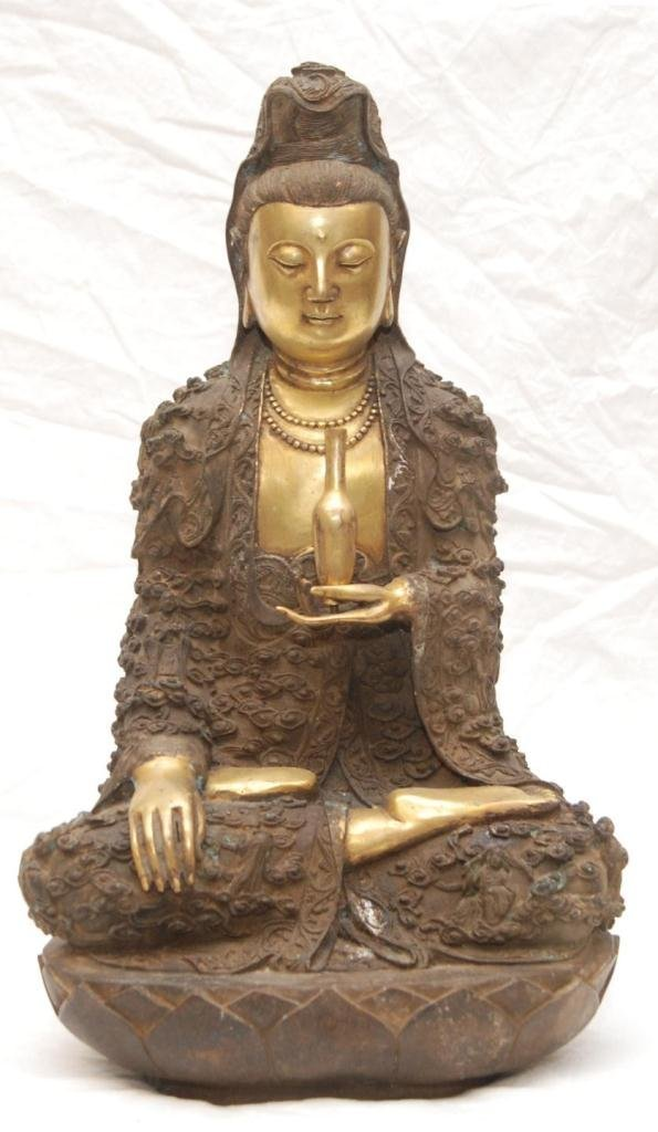 CHINESE GILDED BRONZE SEATED QUAN YIN FIGURE