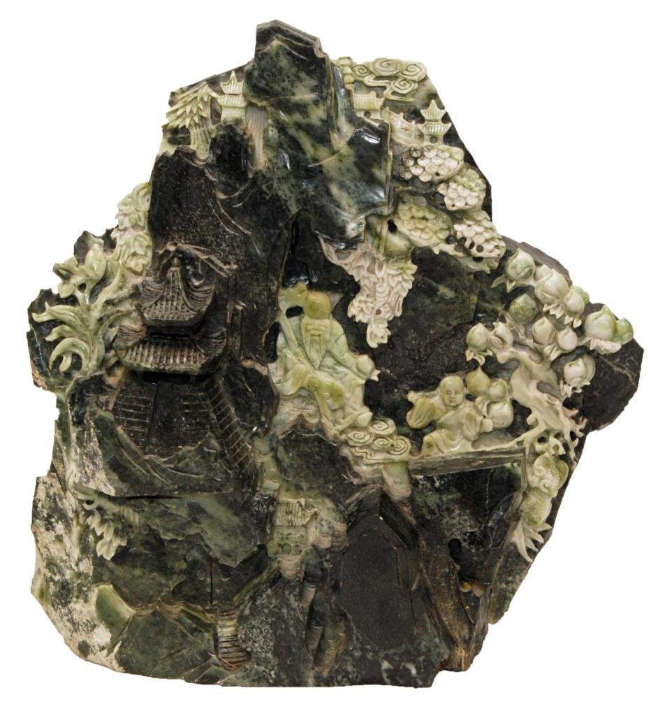 LARGE CHINESE RELIEF CARVED JADEITE BOULDER