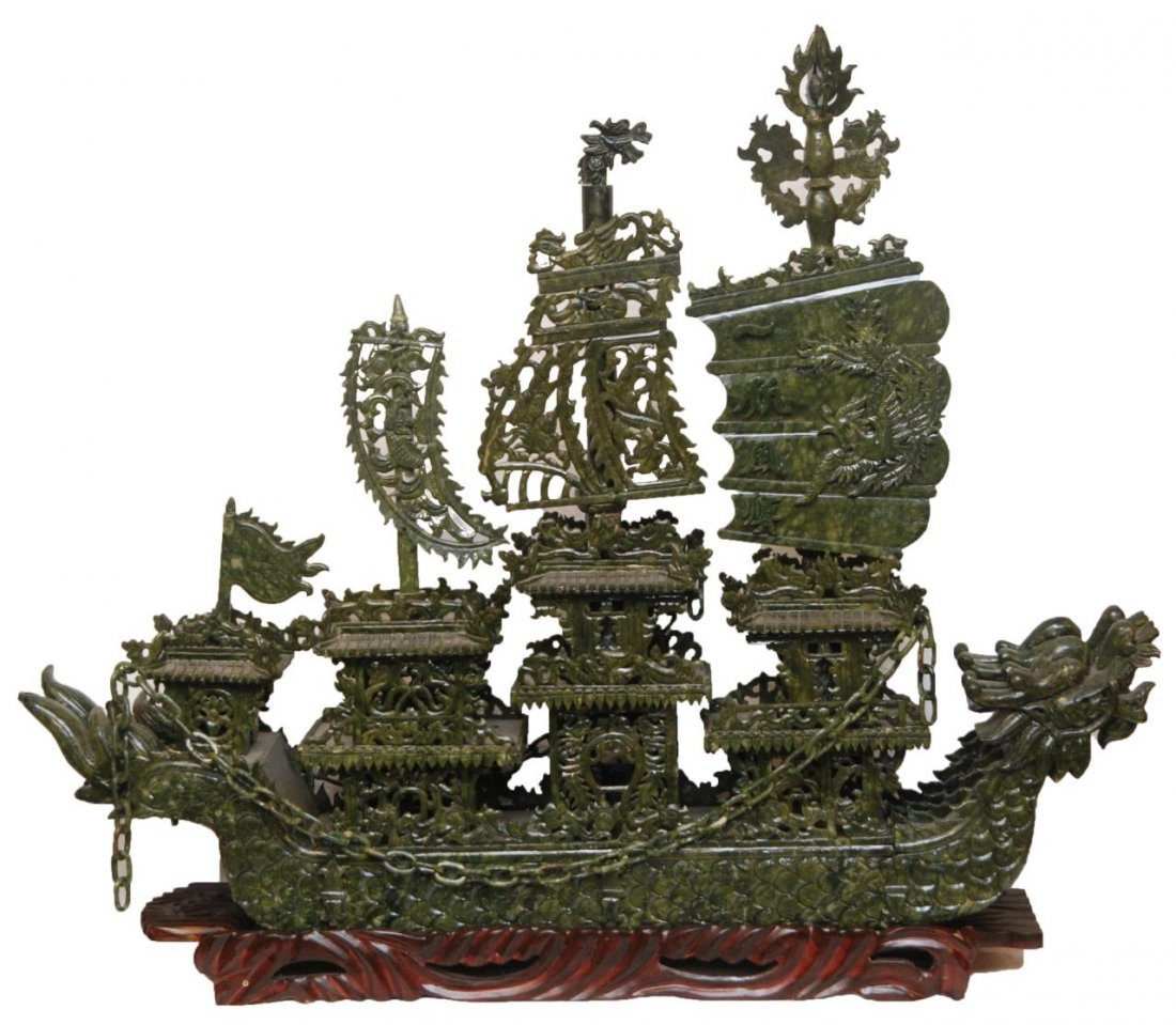 LARGE CHINESE SPINACH JADE DRAGONS SHIP