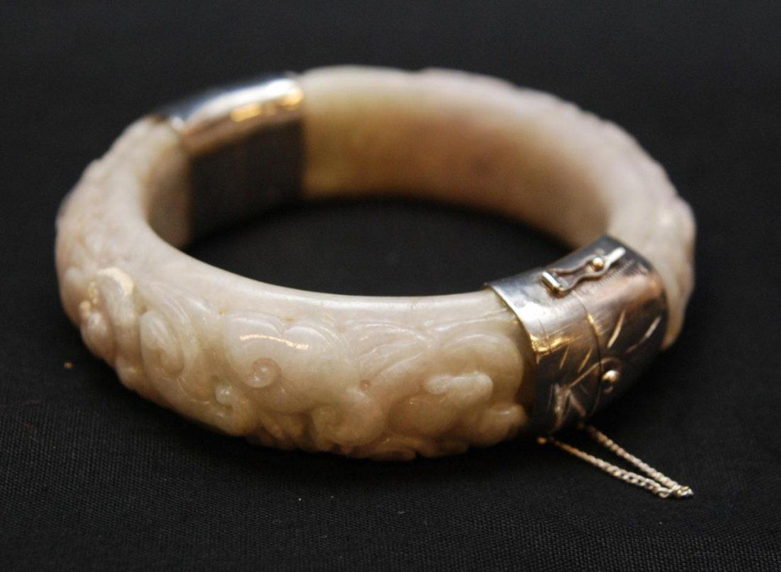 CHINESE RELIEF CARVED JADEITE & SILVER BANGLE