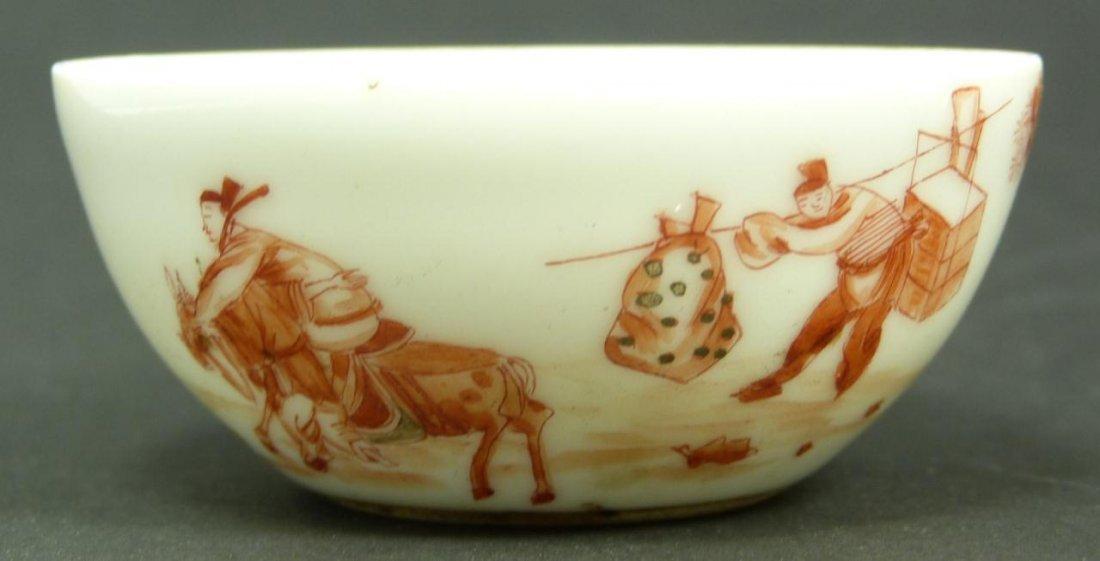 18th C CHINESE IRON RED ENAMEL PORCELAIN TEA BOWL