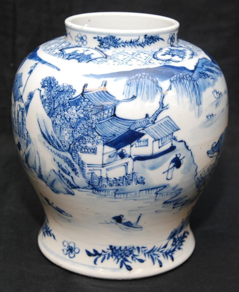 18th/19th C CHINESE BLUE & WHITE PORCELAIN VASE