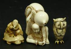 3PCS CHINESE CARVED IVORY NETSUKE FIGURES