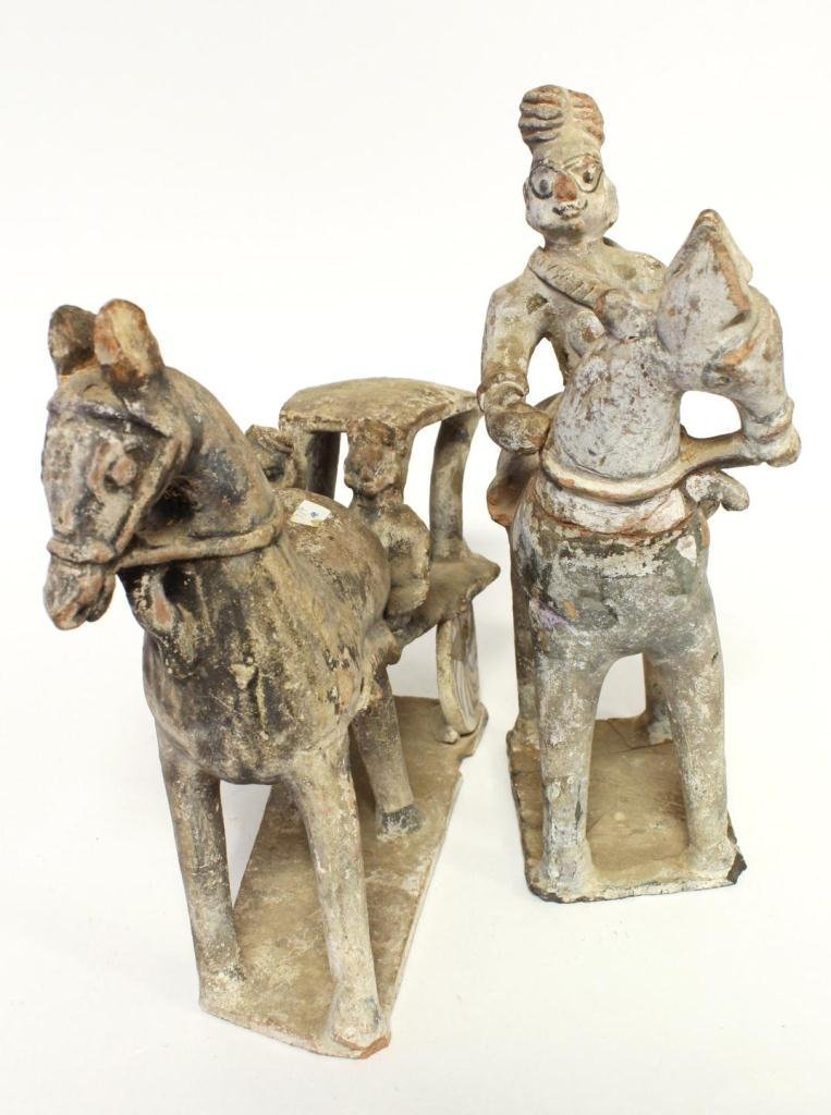 TWO CHINESE TERRACOTTA HORSE FIGURES