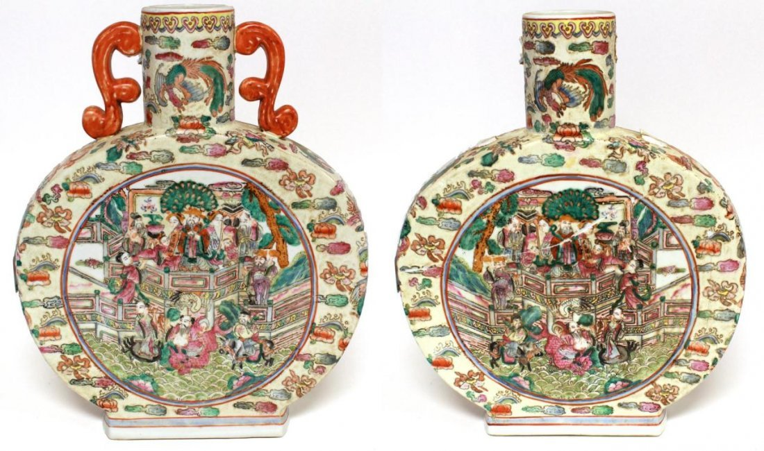 PAIR OF CHINESE FAMILLE ROSE MOON FLASKS