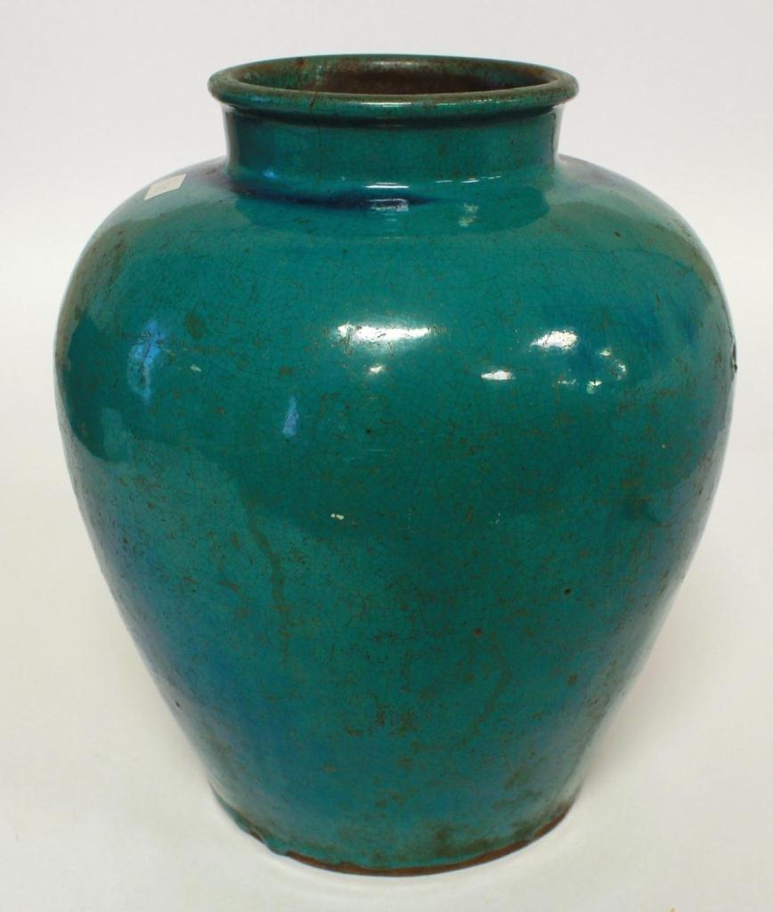 CHINESE BLUE GLAZE POTTERY VASE
