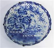 LARGE CHINESE HAND PAINTED BLUE  WHITE CHARGER