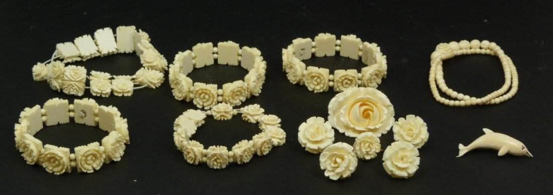 13pc CHINESE CARVED IVORY JEWELRY SUITE