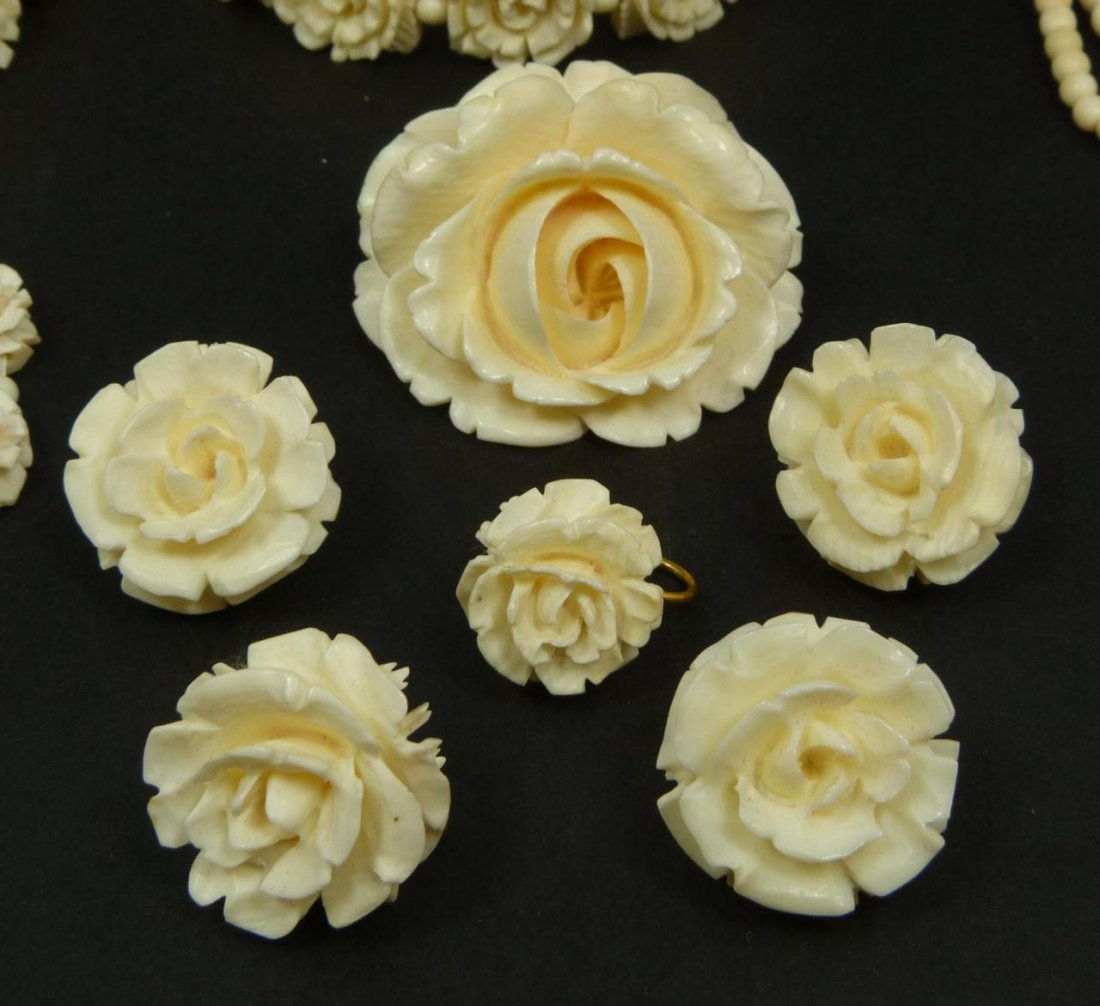13pc CHINESE CARVED IVORY JEWELRY SUITE - 2