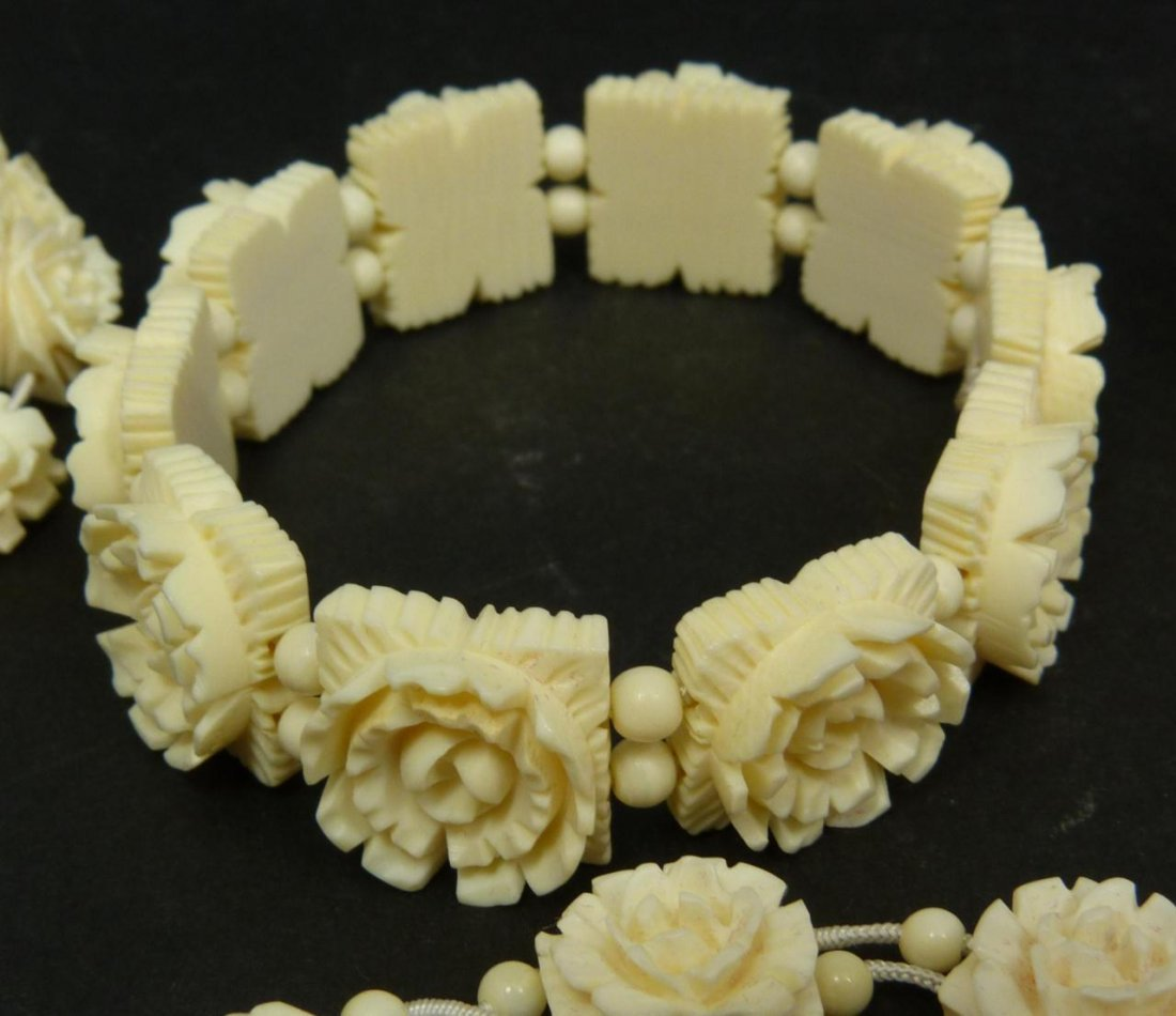 13pc CHINESE CARVED IVORY JEWELRY SUITE - 6