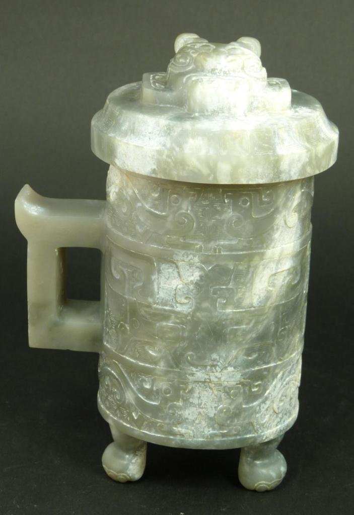 CHINESE CARVED GREY JADE LIDDED CUP