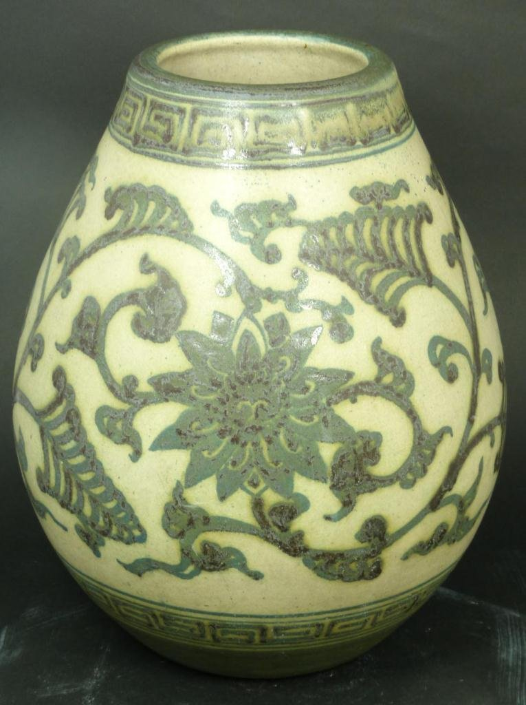 CHINESE POTTERY VASE w/ GLAZED FLORAL MOTIF