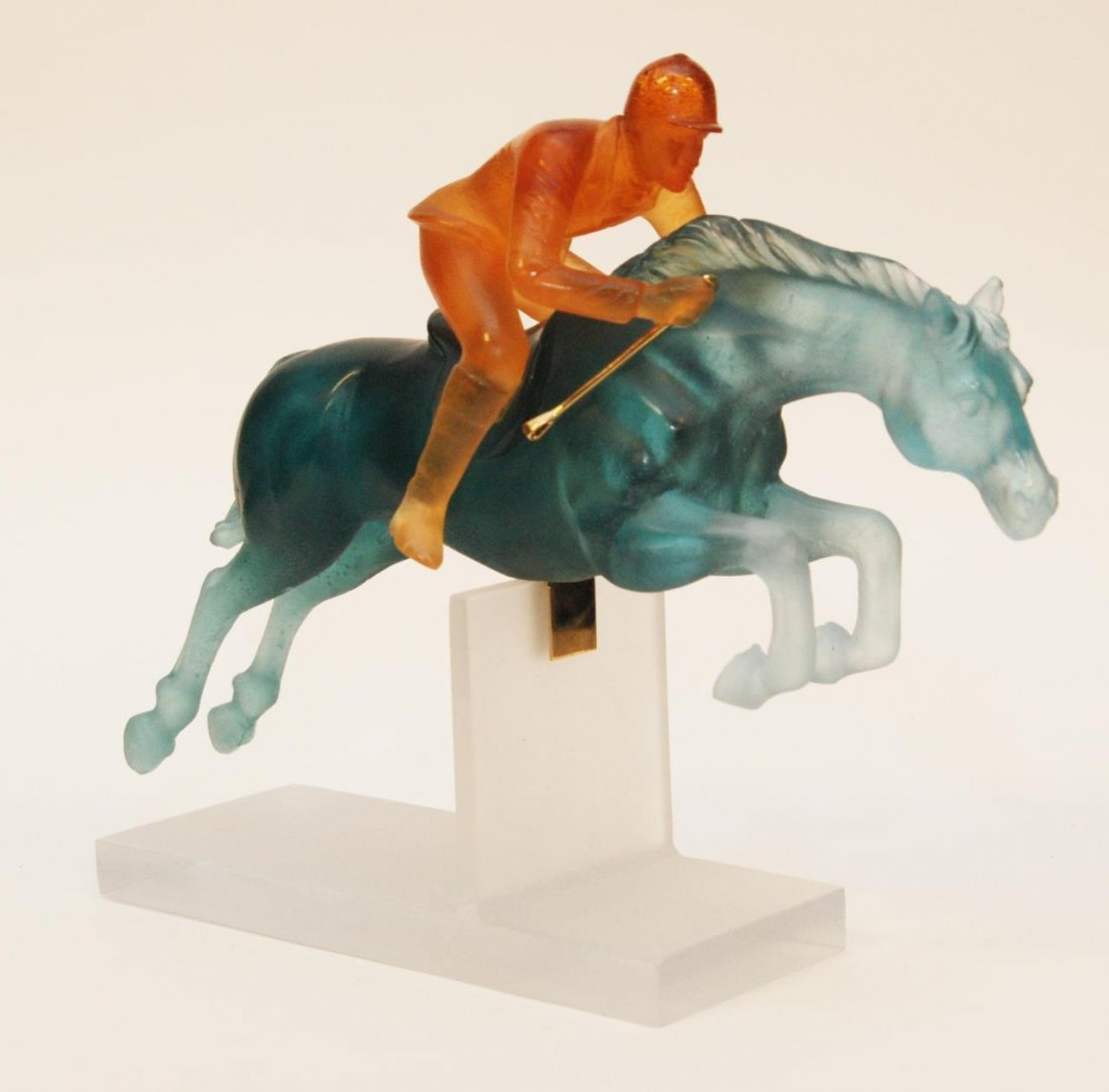 DAUM PATE DE VERRE JOCKEY FIGURE WITH BOX
