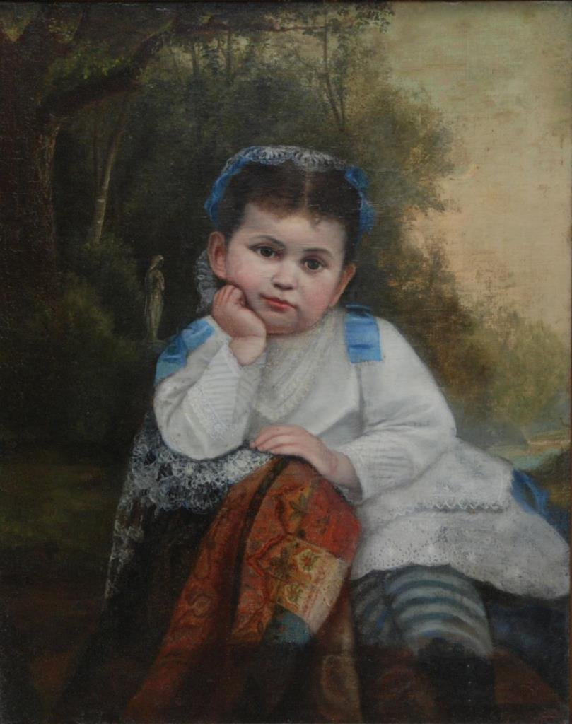 19th CENTURY OIL PAINTING ON CANVAS OF LITTLE GIRL
