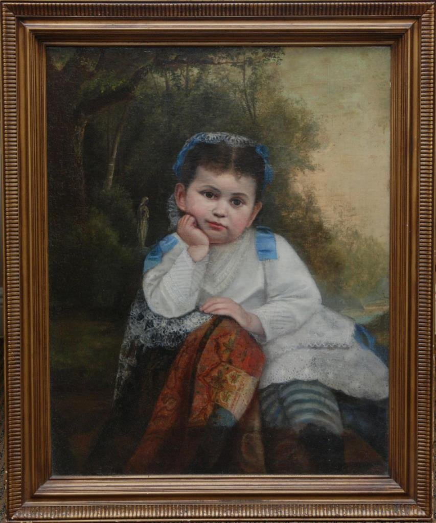 19th CENTURY OIL PAINTING ON CANVAS OF LITTLE GIRL - 2