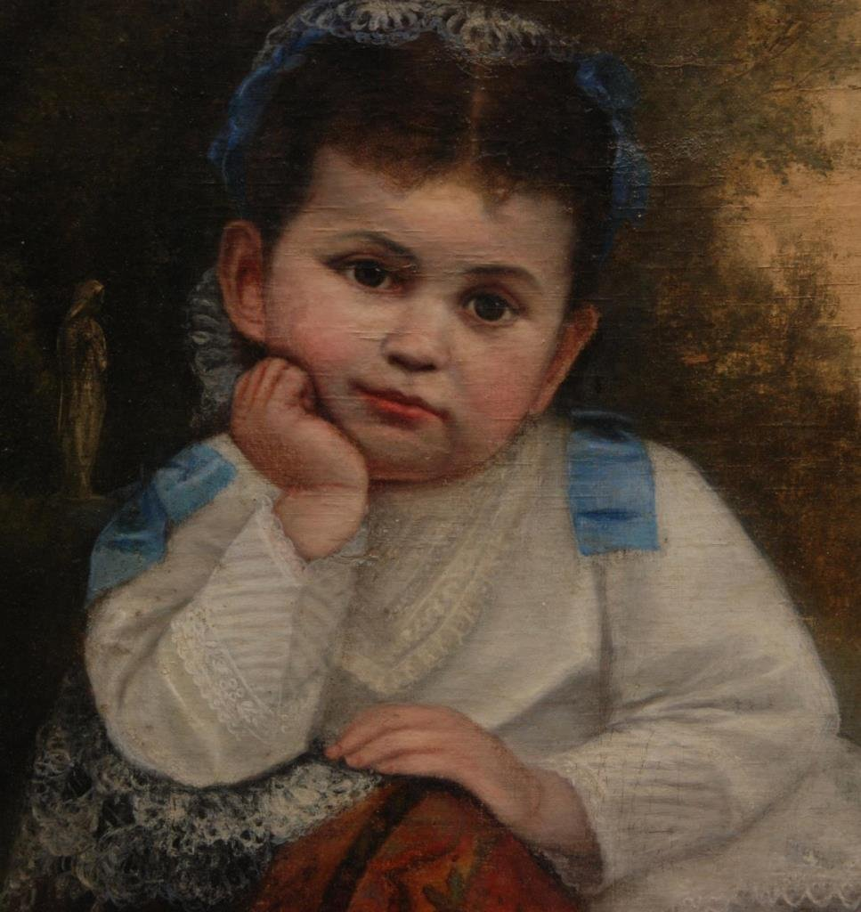 19th CENTURY OIL PAINTING ON CANVAS OF LITTLE GIRL - 3