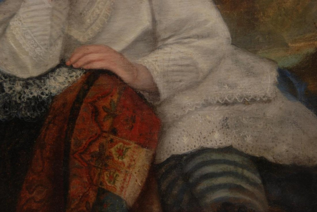 19th CENTURY OIL PAINTING ON CANVAS OF LITTLE GIRL - 4