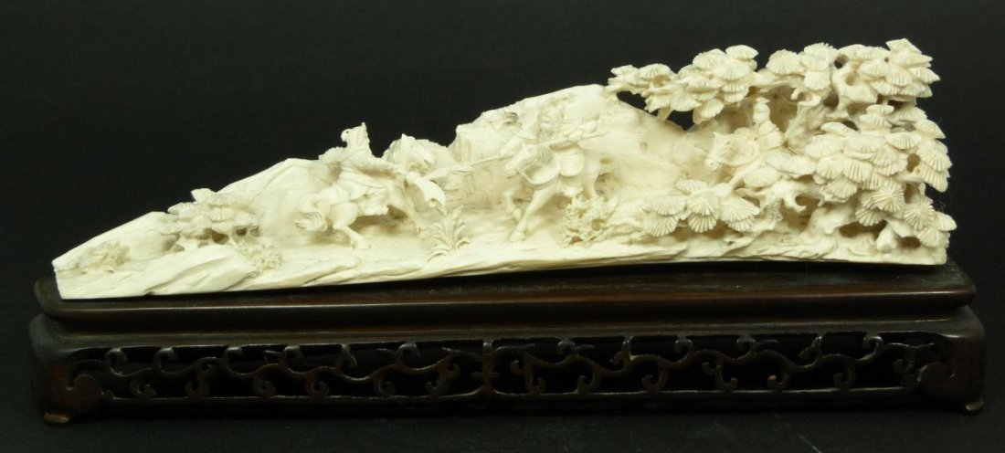 CARVED CULTURAL REVOLUTION IVORY BATTLE SCENE TUSK
