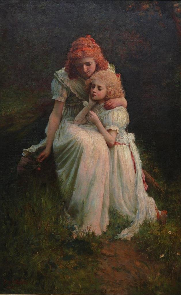 GEORGE SEPHTON OIL PAINTING OF MOTHER & CHILD