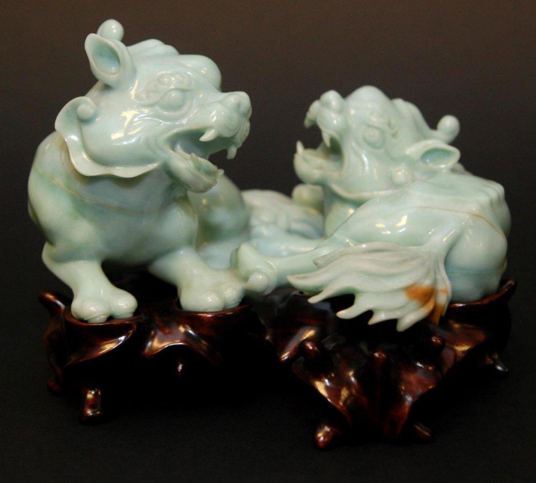 CHINESE BLUISH JADEITE OF TWO MYTHICAL ANIMALS