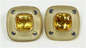 Pr TRIANON 14K YG FROSTED CRYSTAL CLIP EARRINGS