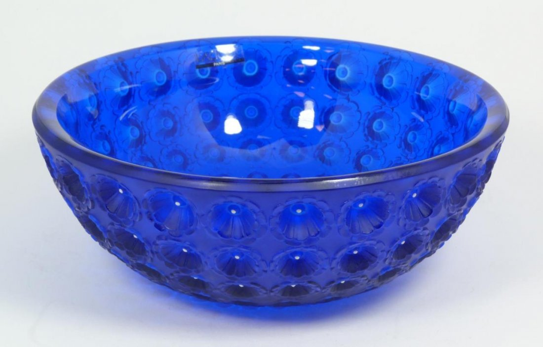 LALIQUE FRENCH CRYSTAL NEMOURS COBALT BOWL