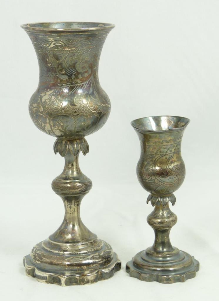 2 ANTIQUE RUSSIAN SILVER KIDDUSH CUPS