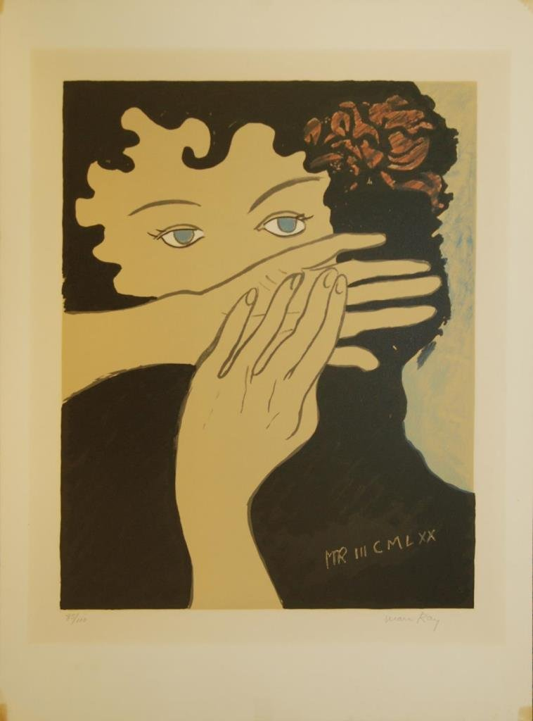 MAN RAY 'JULIE' PENCIL SIGNED LITHOGRAPH OF WOMAN