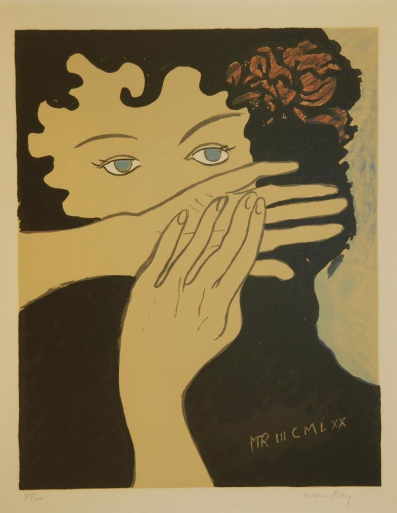 MAN RAY 'JULIE' PENCIL SIGNED LITHOGRAPH OF WOMAN - 2