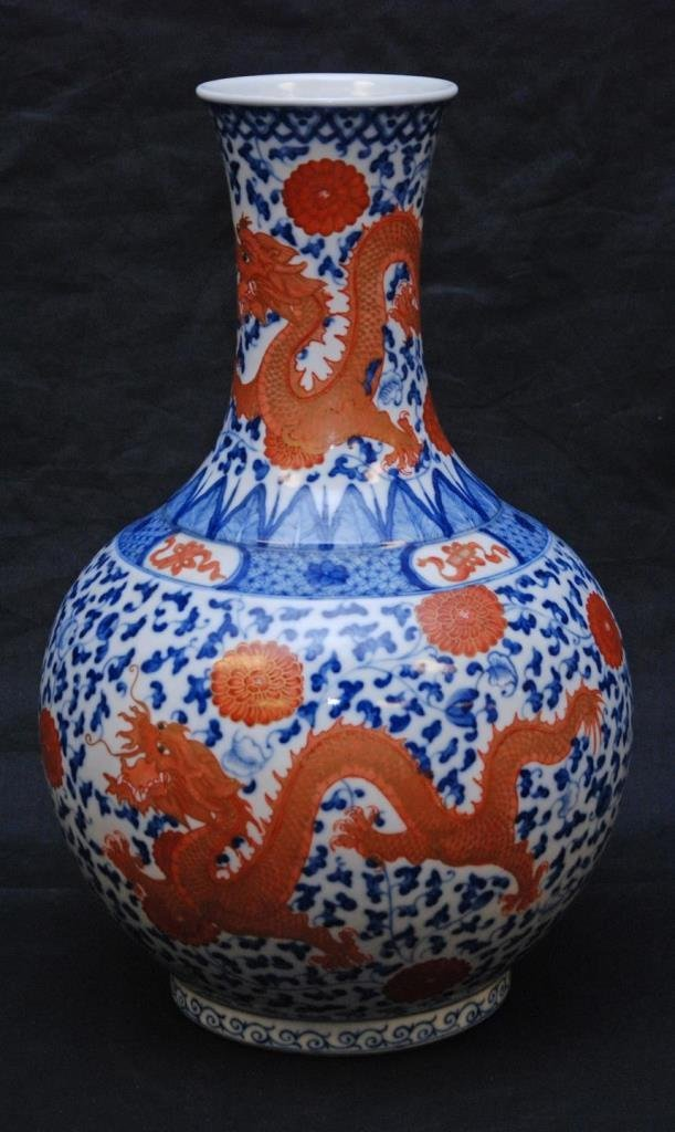 19th C CHINESE BLUE & IRON RED DRAGONS VASE