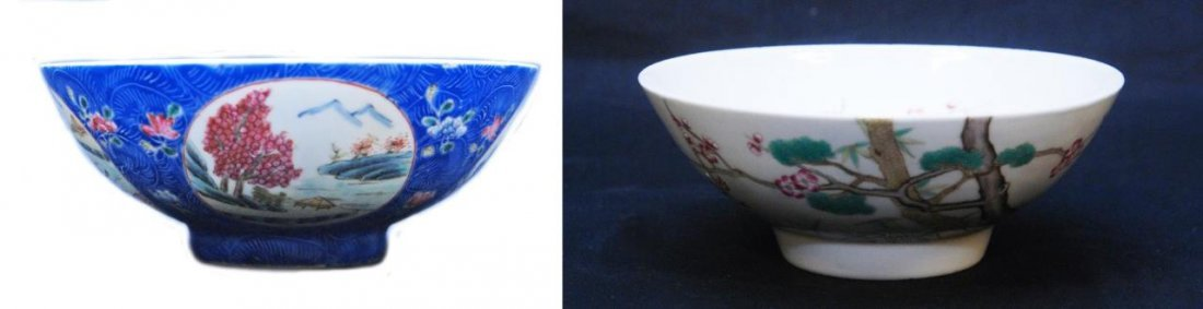 TWO 19th C CHINESE FAMILLE ROSE PORCELAIN BOWLS
