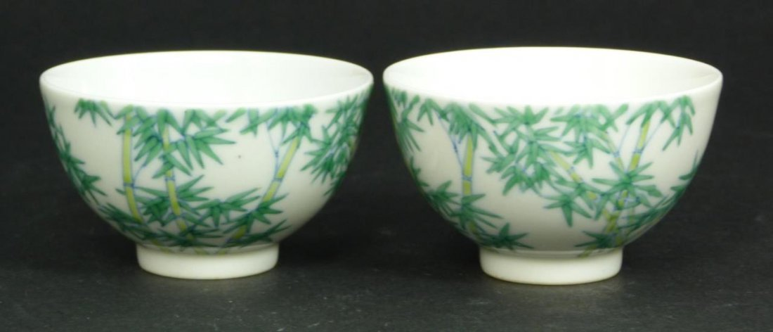 18th/19th C CHINESE PAIR OF BAMBOO TEACUPS