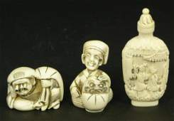 LOT OF 3 ASIAN CARVED AFRICAN IVORY ITEMS