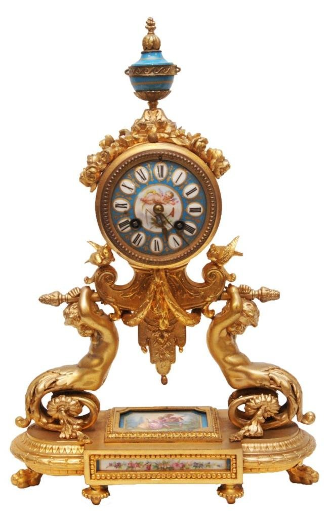 PH MOUREY DORE BRONZE & PORCELAIN MANTLE CLOCK