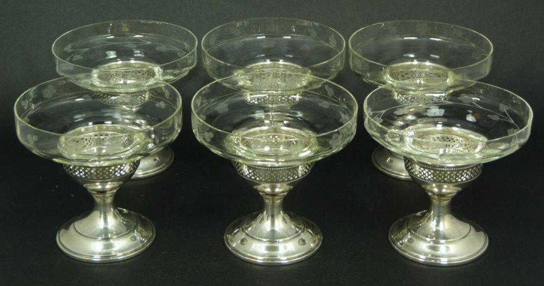 6 ELGIN STERLING SILVER & CUT GLASS SORBETS
