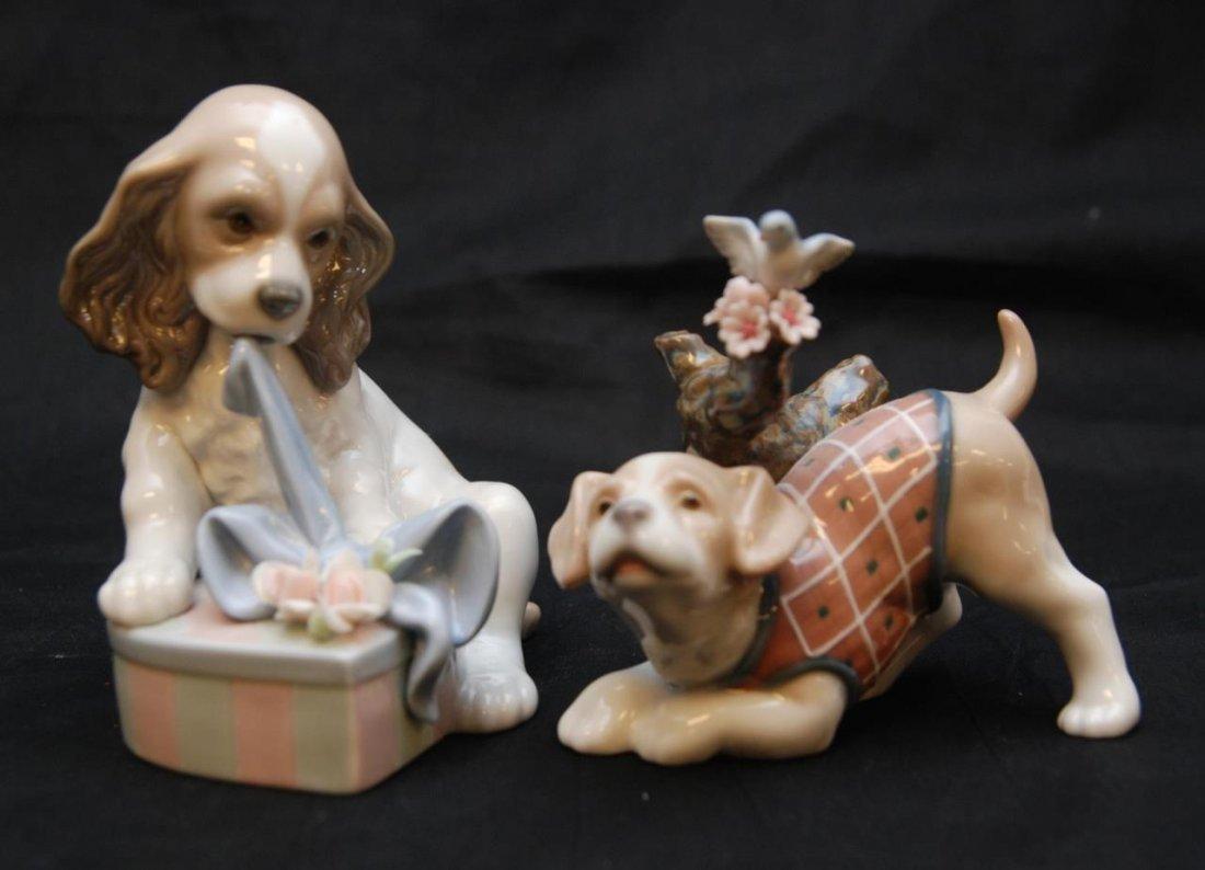 TWO LLADRO PORCELAIN DOG SCULPTURES