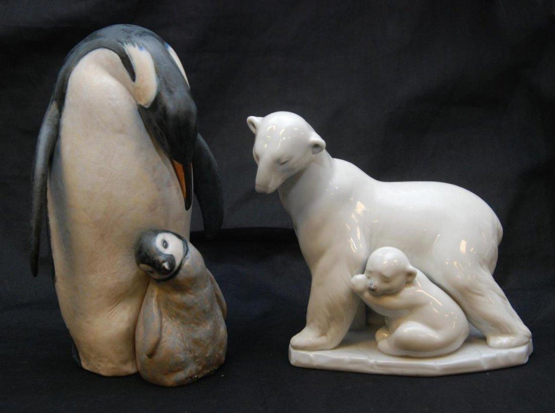 TWO LLADRO PORCELAIN ANIMAL SCULPTURE