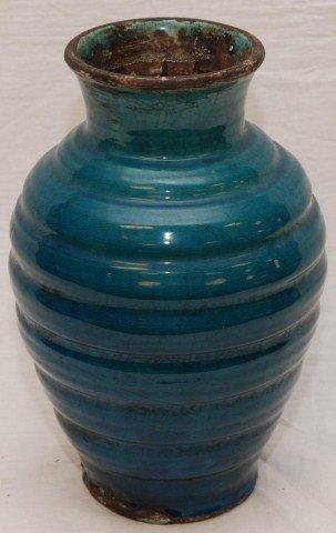 16th C CHINESE GLAZED BLUE POTTERY VASE