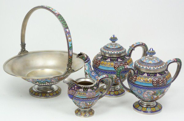 IMPERIAL RUSSIAN SILVER ENAMELED TEA SET RUCKERT