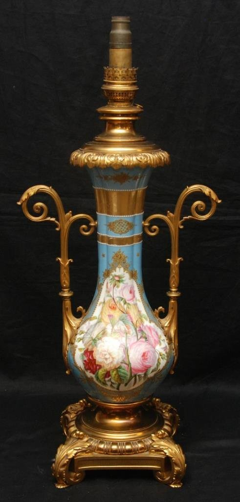 19th C PARIS GILT BRONZE PORCELAIN FLORAL LAMP