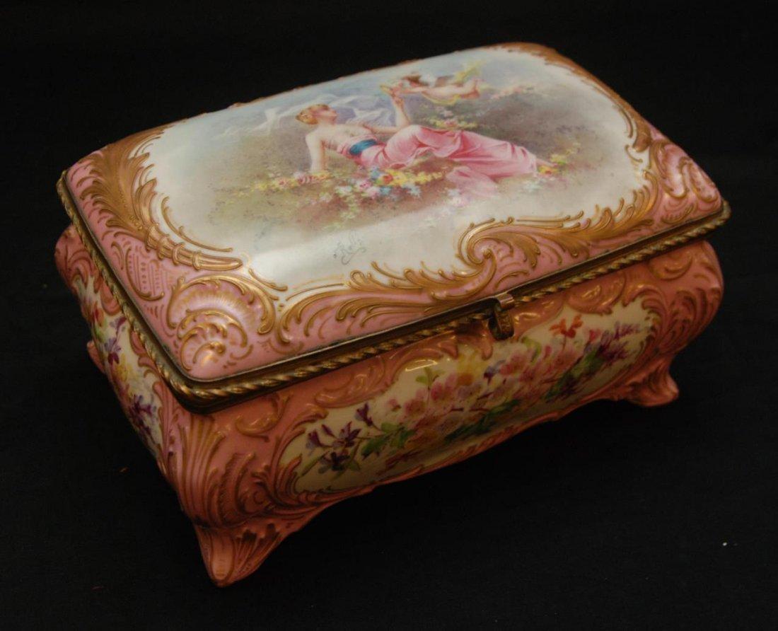 ANTIQUE SEVRES FRENCH PORCELAIN FLORAL BOX
