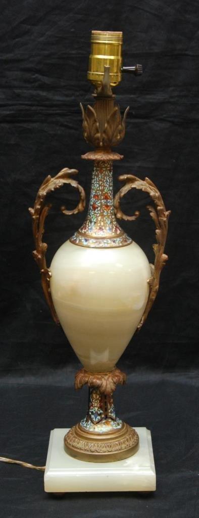 FRENCH CHAMPLEVE ENAMEL & ONYX BRONZE LAMP