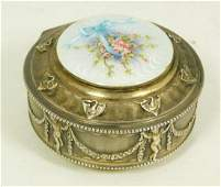 ANTIQUE FRENCH GUILLOCHE ENAMELED SILVER BOX