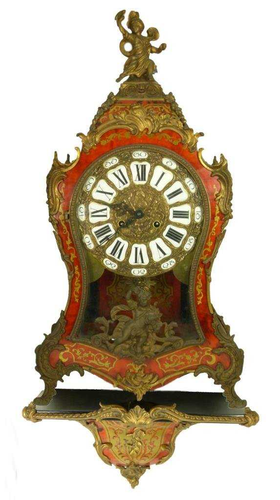 Hermle German Boulle Inlay Clock With Wall Stand
