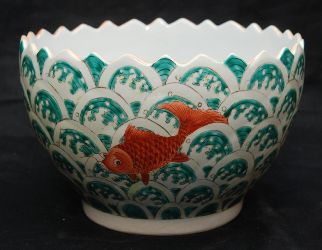 OLD CHINESE HAND PAINTED LOTUS FISHES BOWL